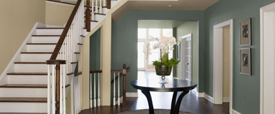 Light blue-green entry way
